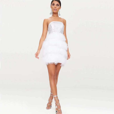 Women Sequins Feathers Strapless Cocktail party dress
