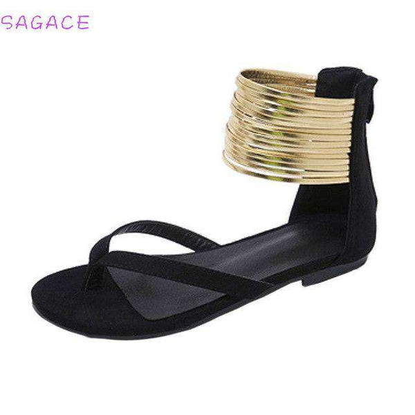 Women Rome Ankle Strap Closed Toe  Flat Sandals