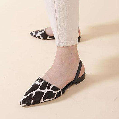 Genuine Leather Strap Pointed Flat Sandals Women