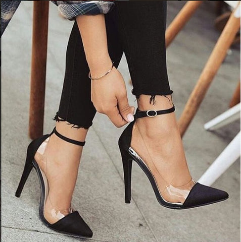 women heels pointed toe transparent pumps black