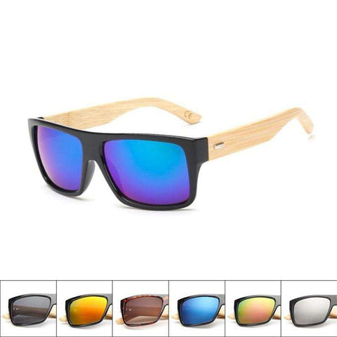 Bamboo Sunglasses Handmade Wood Square Frame UV 400 For Men