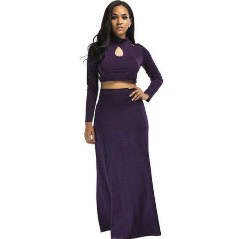 Women Plus Size Two Piece Long Maxi Dress