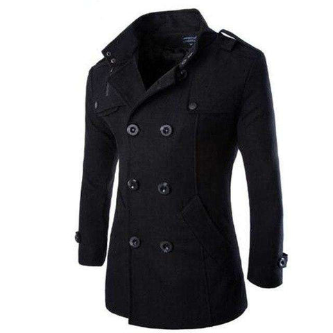 Men Woolen Trench Jacket Double Breasted Peacoat