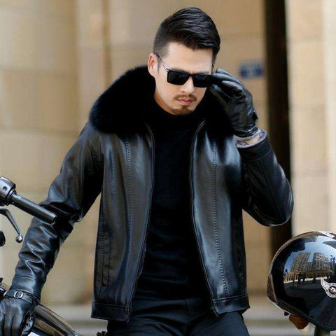 Men Parka Leather Fox Fur Collar Motorcycle Jacket