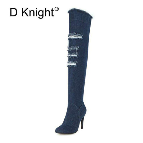 New Denim Over The Knee High Heels Women Boots