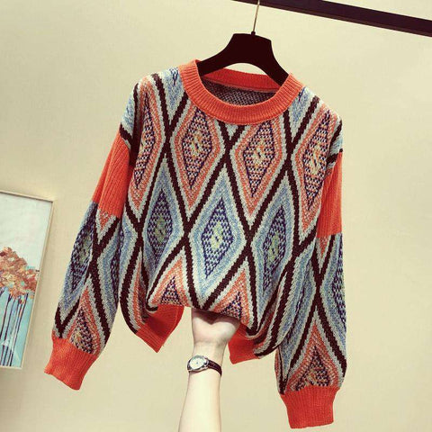 autumn loose v-neck fashion geometric jacquard sweater