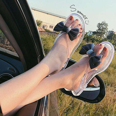 Bow Flip-Flops Transparent Women Flat Sandals