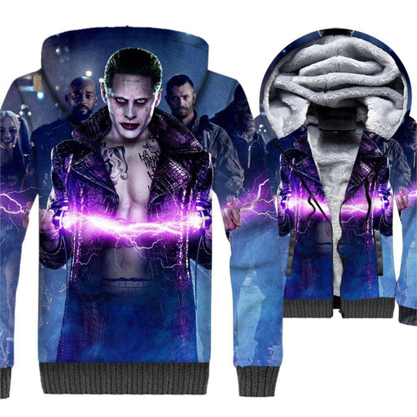Men 3D Suicide Squad Fleece Warm Zipper Hoodies