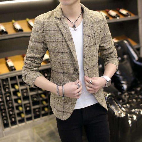 Casual Blazer Men Suits Masculine Coat Button