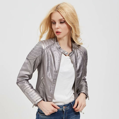 Faux Leather PU Bomb Punk Bling Jacket