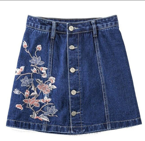 Summer Style Floral Embroidered Mini Jeans Skirt