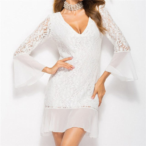Women Elegant Lace Casual Bodycon Party Dress