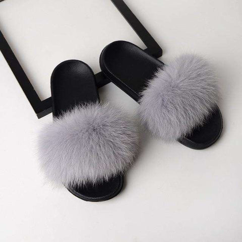 Real Fox Flat Fur Slide Sandal