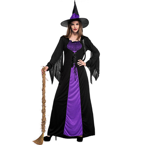 Witch Purple Braces Halloween Costume Dress with Hat