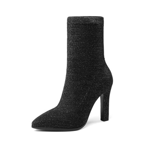 Women Fashion Thin High Heel Fabric Mid Calf Boots