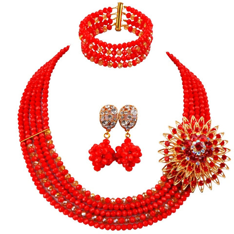 Women Crystal Beads Necklace Earrings Bracelet Sets