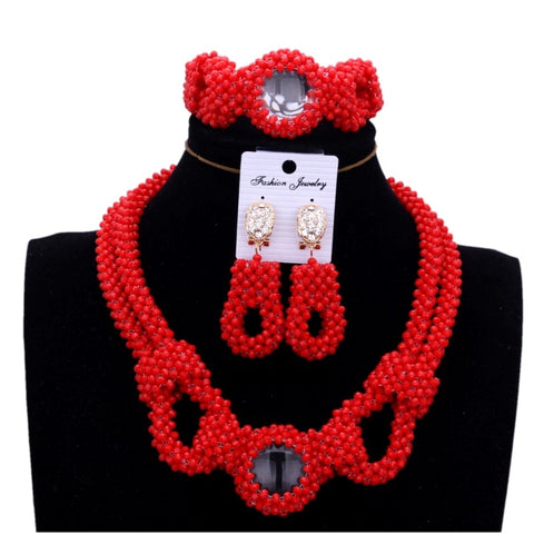Women African Red Fashion Jewellery Beads Set