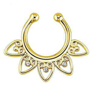 Heart Body Fake Septum Piercing Alloy Nose Hoop Ring
