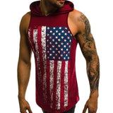 Sleeveless Printed Hooded Vest Gym Tank Top