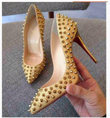 Women Gold Stilettos High Heel Elegant Pumps