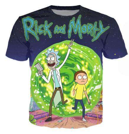 3D Rick & Morty Print Crew Neck T-Shirt Women