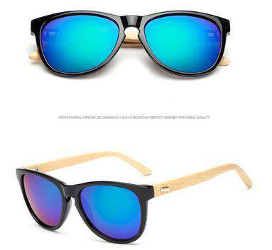 Aritificial Wood Grain Temple Bamboo Sunglasses Unisex