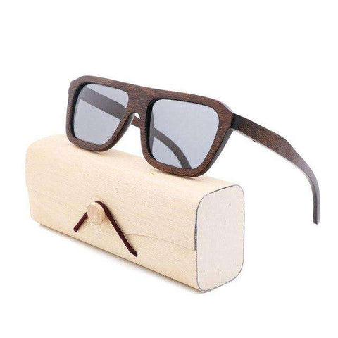 Bamboo Square Frame Sunglasses UV 400 Unisex
