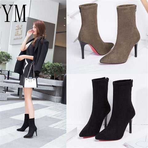 Women Pointed Toe Elastic High Slip Heel Pumps