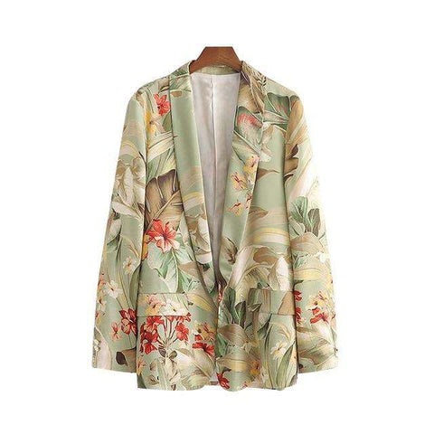 women floral leaves print long sleeve blazer coat