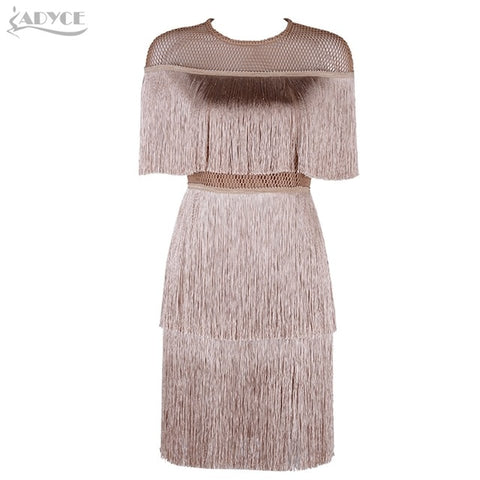 Women Short Sleeve Evening Fringe Tassel Dress