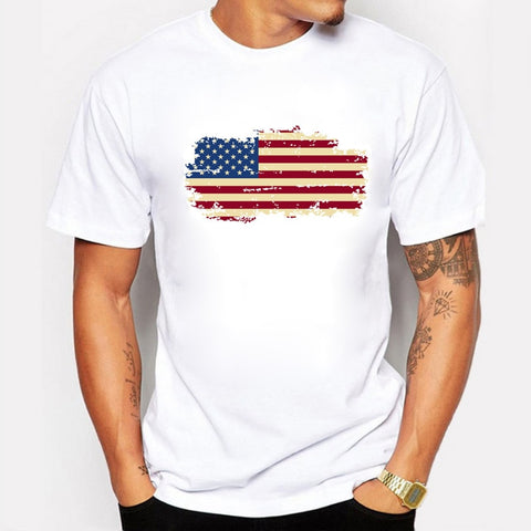 O-Neck Printed US Flag Cotton T-Shirt