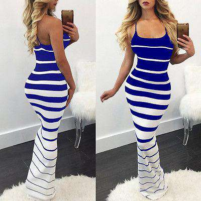 Women Summer Off Shoulder Casual Striped Slim Dress