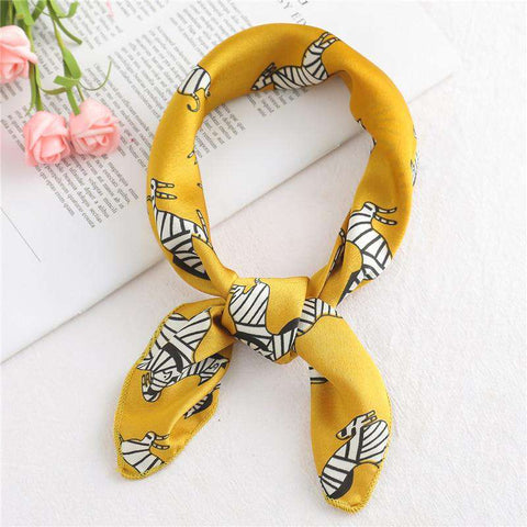Head Kerchief Satin Fashion Print Silk Scarf Women