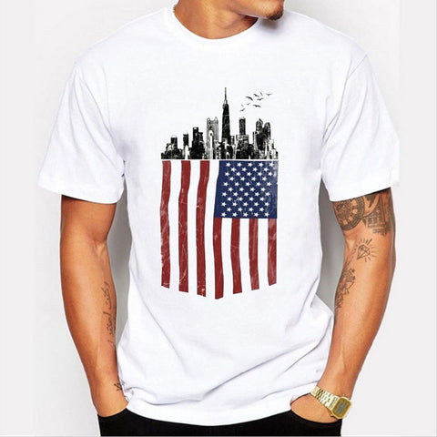 3d Printed USA Flag Striped Cotton T-Shirt