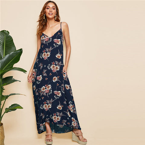Floral Printed Pocket Side Boho Maxi Dress