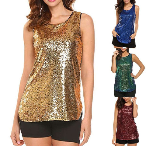 Korean Style Sleeveless Shimmer Camisole Sequin Tank Tops