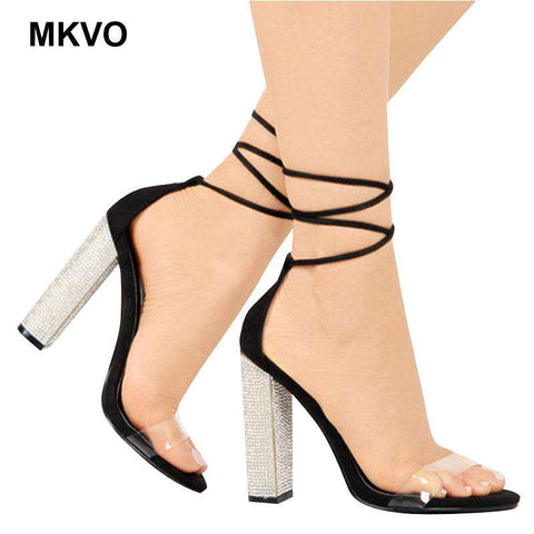 luxury gold Rhinestone Bandage High-heels women's