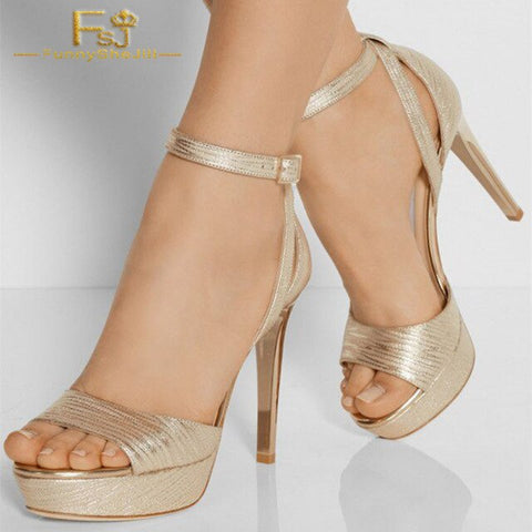 Women Golden Casual Ankle Strap Heels