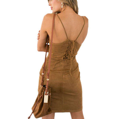 Brown Faux Suede Dress off shoulder Backless Lace up