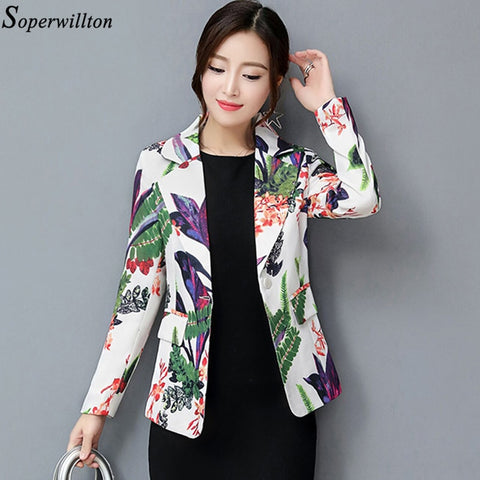 Women Print Flower Blazers Coat