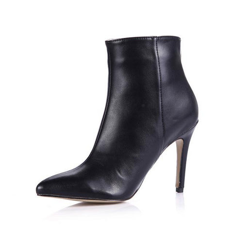 Women Ankle Leather Zip Pointed Toe High Heel Boots