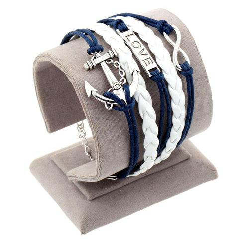 Anchor Rudder Charm Leather bracelet