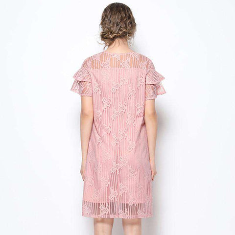 women Butterfly Sleeve pink lace dress