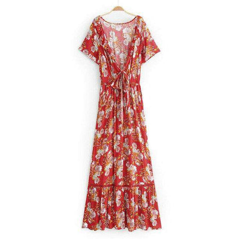 Floral Printed Hem Deep V neck Boho Belt Dress