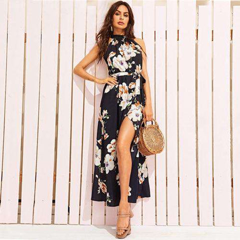 Floral Printed Wrap Split Halter A-Line Sleeveless Dress