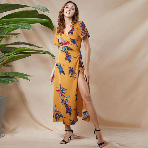 Floral Printed Boho Wrap V-Neck Sash Split Long Dress
