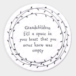 East of India Porcelain Circle Coaster - Grandchildren