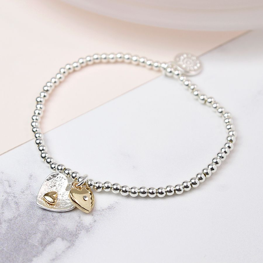 POM Silver & Gold Plated Double Heart Bracelet
