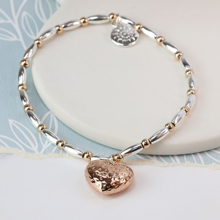 POM Rose gold plated heart and mixed bead bracelet
