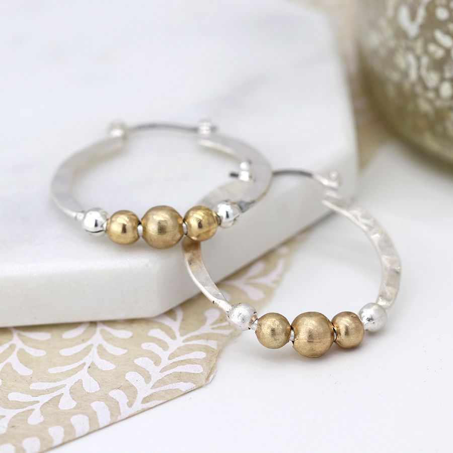 POM Silver plated hoop and golden bead earrings |More Than Just a Gift